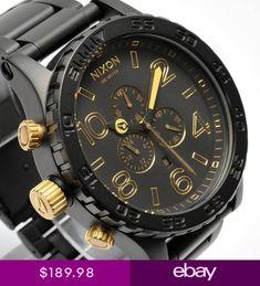 New NIXON Watch Mens 51-30 CHRONO MATTE BLACK GOLD A083-1041 A0831041 8161a6c6cd27