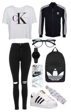 """Untitled #304"" by eviemadeleine on Polyvore featuring Topshop, Calvin Klein, adidas, adidas Originals, Casetify, CLUSE and S'well"