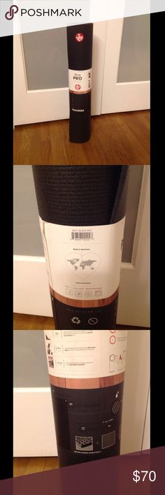 "Manduka Black Pro Mat NWT A luxuriously dense and spacious yoga mat. Designed for performance and durability, the PRO will never wear out, guaranteed for life. Standard length: 7.5 lbs; 71"" x 26""; 6 mm thick • High-density cushion, joint protection, unmatched support. • Guaranteed to never wear out from yoga practice.  • Closed-cell surface prevents sweat from seeping into the mat.  • High quality material never peels, flakes or fades.  • Non-toxic, emissions-free manufacturing, 100% latex…"