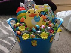 Easter basket for 10 month old easter pinterest easter baskets just finished this easter basket for a 6 month old baby boy negle Images