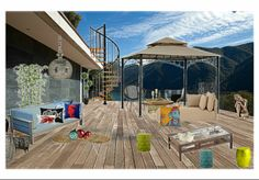 Olioboard, Outdoor living, simple lines, colorful accent pieces.