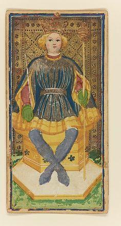King of Batons, from The Visconti-Sforza Tarot - Artist: Workshop of Bonifacio Bembo (Italian, Cremonese, active ca. 1442–died before 1482). Date: ca. 1450