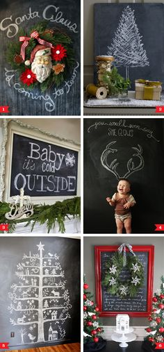 Chalkboard decorating ideas for Christmas...would love to have a chalkboard wall in the house. I've got my eye on you wall next to the kitchen!!