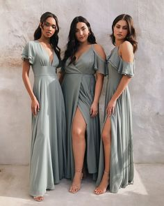 the perfect palette ? how beautiful are these sage green bridesmaid dresses from our newly launched Spring Bridal Collection? these mismatched bride. Bridesmaid Dresses Long Champagne, Spring Bridesmaid Dresses, Bridesmaid Dresses With Sleeves, Mismatched Bridesmaid Dresses, Green Bridesmaid Dresses, Flattering Bridesmaid Dresses, Bridesmaids, Sage Dresses, Wedding Dresses