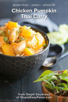 Get the recipe for a simple Chicken Pumpkin Thai Curry that's gluten-free paleo and It's flavorful warming and filling. Makes a healthy quick weeknight dinner that will fill you up but not weigh you down. Paleo Recipes, Real Food Recipes, Chicken Recipes, Cooking Recipes, Paleo Meals, Paleo Food, Healthy Foods, Free Recipes, Healthy Eating