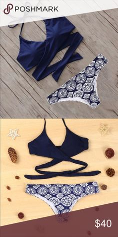 "Navy and White bikini Navy blue and White brazilian bikini low rise cheeky 👙 NWT Size XL 33-38"" Swim Bikinis"