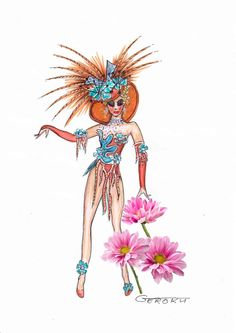 Show Girl Costume Sketch Showgirl Costume, Samba Costume, Carnival Costumes, Girl Costumes, Barbie Fashion Sketches, Showgirls, Costume Design, Burlesque, Art Tutorials