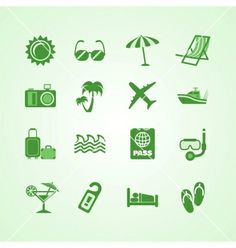 Vacation travel green icons set vector - by macrovector on VectorStock®