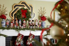 My holiday mantel adorned with my nutcracker collection. #christmas