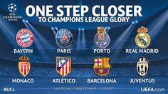 Felicitaciones a Real Madrid, Bayern de Múnich, el Atlético de Madrid, Barcelona, Juventus, Mónaco, PSG y el FC Porto para hacer a los cuartos de final!