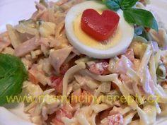 Šunkovo-sýrový salát Protein, Bon Appetit, Potato Salad, Salads, Tacos, Food And Drink, Chicken, Ethnic Recipes, Anna