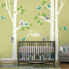 Get It Now Birch Trees Wall Decal, Kids Personalized Birch Trees Nursery Wall Decal, Forest Animals Owsl Squirrels Birds Baby Room Art Decor by styleywalls. Birch Tree Wall Decal, Animal Wall Decals, Kids Wall Decals, Nursery Wall Decals, Nursery Trees, Nursery Room, Wall Stickers, Vinyl Decals, Baby Room Art
