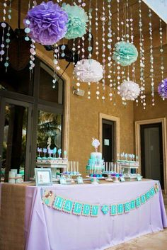 Gorgeous Little Mermaid birthday party decorations in purple, aqua, and white. Shower Party, Baby Shower Parties, Baby Shower Themes, Baby Shower Decorations, Shower Ideas, Hanging Decorations, Mermaid Decorations, Party Ceiling Decorations, Mermaid Birthday Party Decorations Diy