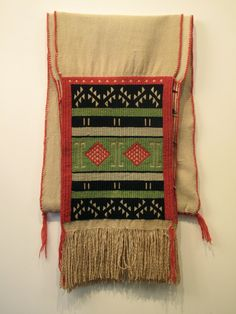 Hopi brocaded dance sash-early 20t century, german town wool & cotton woven in two repeat panels sewn together