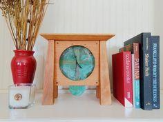 Prairie Mantel Deluxe. The most beautiful clock! Handmade in Asheville, North Carolina. Mantle Clock, Wood Clocks, Handmade Home Decor, American Made, Wood Art, Copper, Clint Walker, Clock Ideas, Dollhouse Ideas