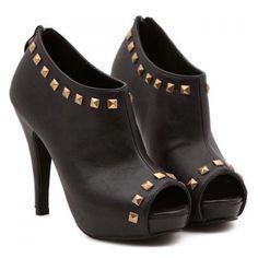 Black Studded Peep Toe Booties