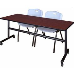 Kobe 72 inch Mahogany Flip Top Mobile Training Table and 2 'M' Stack Chairs, Multiple Colors, Gray