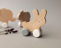 Wooden Push Animal Toy - Toy for Toddler - Waldorf Wooden toy. This playful, natural wooden push toy Toddler Toys, Baby Toys, Kids Toys, Wooden Toys For Toddlers, Handmade Wooden Toys, Wooden Diy, Handmade Baby, Toddler Development, Language Development