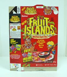 Vintage Ralston Fruit Islands Cereal Box Wonka Nerds Candy Retro Kids Food Snack