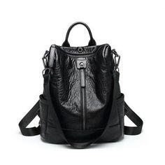 bdf0dfc4db2f Women Solid Travel Leisure Soft Leather Multi-function Backpack Large  Capacity Shoulder Bag Travel Backpack