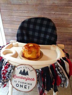 Pancake Smash Cake at a Lumberjack First Birthday Party - adorable!!