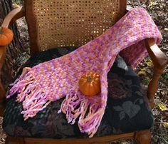 Crochet Neck Scarf, Soft, Warm, and Bulky, Pink, Orange, Dark Pink, Unisex, Long With Fringe,  Winter Wear, Great Gift Idea! by VeeSwan on Etsy