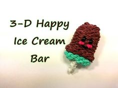 3-D Happy Ice Cream Bar Tutorial by feelinspiffy (Rainbow Loom). Without the ruffle/drip edge. Still very cute!