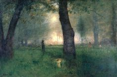 The Trout Brook - George Inness (American Hudson River School/Tonalist Painter, 1825-1894)