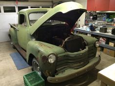 March 2014 ~ in shop to get the old 6 running.  Will be selling the 1958 235 6cyl, orig '51 4-speed/torque tube, to be replaced with '69 GMC 4-bolt 350, TH700R4 trans, updated rear.
