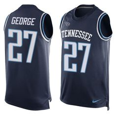 Men's Nike Tennessee Titans #27 Eddie George Limited Navy Blue Player Name & Number Tank Top NFL Jersey