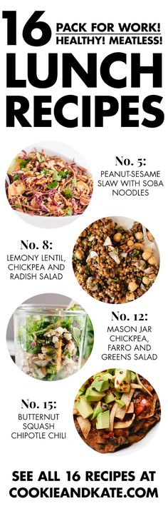 16 healthy lunch recipes that make great leftovers! Get them at cookieandkate.com