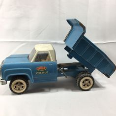 Vintage 1960's Tonka Hydraulic Blue Dump Truck White Cab Pressed Steel 13190 #Tonka