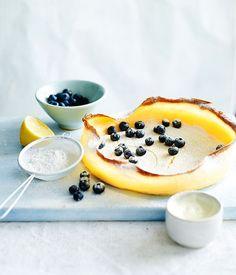 German pancake with lemon and sugar recipe - Gourmet Traveller #germanpancakes #lemon #sugar