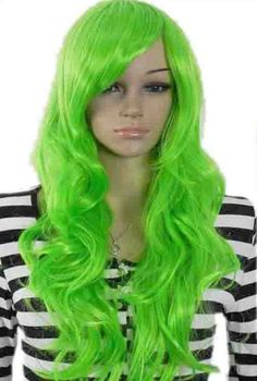 Yazilind Long Fluorescent Green Wavy Hair Full Cosplay Anime Costume Wig:Amazon:Health & Personal Care
