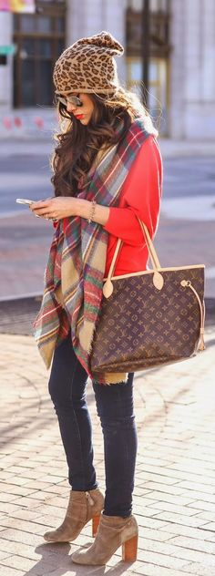 Louis Vuitton Tote, Plaid Scarf, Skinny Jeans