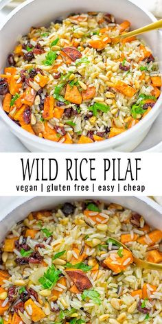 This Wild Rice Pilaf is naturally vegan, gluten free, and a super easy one pot m. - This Wild Rice Pilaf is naturally vegan, gluten free, and a super easy one pot meal. Vegan Dinner Recipes, Vegan Dinners, Healthy Recipes, Vegan Recipes With Wild Rice, Vegan Rice Pilaf Recipe, Vegetarian One Pot Meals, Vegan Rice Dishes, Vegan Bean Recipes, Vegetarian Christmas Dinner