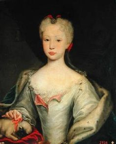 Another member of the Braganza family displaying mixed race characteristics;  pretty, elegant Infanta Maria Barbara (later Queen of Spain).