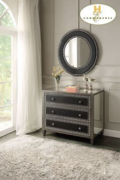 This is a glamorous accent cabinet that can add flair wherever you need it! #accent #cabinet #mirrorfurniture #mhf