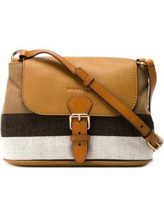 095ac85bbe1c Brown calf leather and jute-cotton blend check canvas crossbody bag from  Burberry. £
