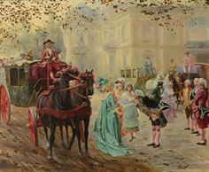 Réunion mondaine by Mariano Alonso Pérez Old Trains, Rococo Style, Alonso, Past, Auction, Romantic, Painting, Journey, Mariana