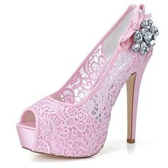 Womens Pink Luxury Lace Platform Heels
