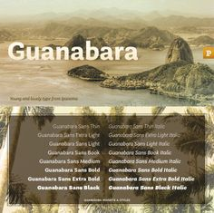 Guanabara Sans font family - 8 weights & matching italics by Plau Studio. Lovely!