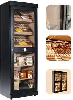 adorini Roma (black) electronic humidor cabinet - something like this should hold enough :) Cigar Club, Cigar Bar, Good Cigars, Cigars And Whiskey, Cigar Humidor Cabinet, Cigar Cases, Cigar Smoking, Smoking Pipes, Cigars