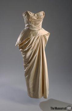 Medium: Ivory silk satin; boning Date: c.1952