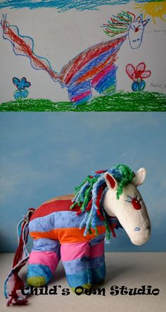 Kids' Drawings Made Into Toys ~ your child's imagination come to life... turn your child's drawing into a soft toy that they're sure to treasure forever!