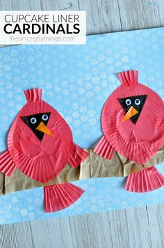 Cupcake Liner Cardinal Craft is part of Holiday Kids Crafts Cupcake Liners - This cupcake liner cardinal craft is great for a winter craft, bird craft for kids, cupcake liner crafts for kids and fun kids craft Holiday Crafts For Kids, Diy For Kids, Christmas Crafts, Kids Fun, Winter Art, Winter Theme, Cupcake Liner Crafts, Cupcake Liners, Cupcake Wrappers