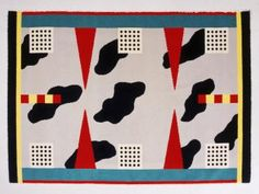 """86/1019 Carpet, """"California"""", wool, hand-woven, designed by Nathalie Du Pasquier for Memphis, made by Elio Palamisano, Italy, designed 1983, made 1983-1986 - Powerhouse Museum Collection"""