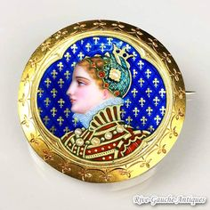 Incredible victorian enamel royal portrait brooch--18k gold & Pearls