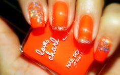 Bright Orange Nail Polish w/ sparkles Orange Nail Polish, Red Nails, Love Nails, Gel Polish, Pretty Nails, Hair And Nails, Bright Orange Nails, Nail Candy, Sparkle Nails