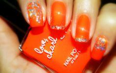 Bright Orange Nail Polish w/ sparkles Orange Nail Polish, Red Nails, Love Nails, Gel Polish, Pretty Nails, Hair And Nails, Cute Nail Art, Gel Nail Art, Bright Orange Nails